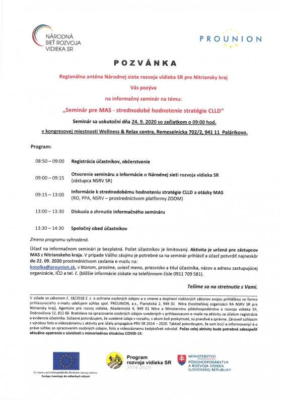 Seminár pre MAS - strednodobé hodnotenie stratégie CLLD