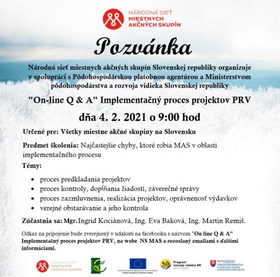 "On-line Q & A"" Implementačný proces projektov PRV"