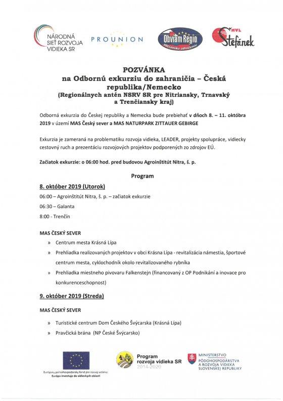 Pozvánka na Odbornú exkurziu do zahraničia – Česká republika/Nemecko (Regionálnych antén NSRV SR pre Nitriansky, Trnavský a Trenčiansky kraj)