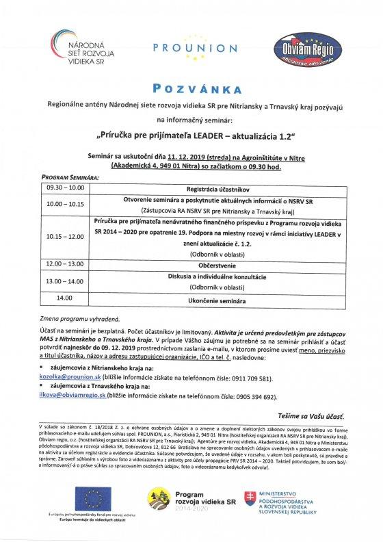 """informačný seminár """"Príručka pre prijímateľa LEADER – aktualizácia 1.2"""""""